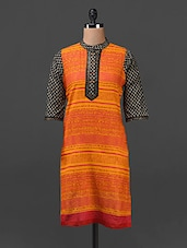 COTTON PRINTED KURTA WITH BAND COLLAR - SHREE