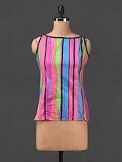 Stripes Printed Sleeveless Cotton Top - SHREE