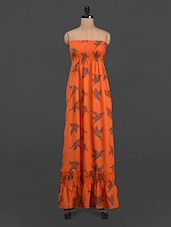 Orange Bird Print Maxi Tube Dress - LastInch