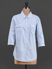 Light Blue Cotton Twin Pocket Shirt - LastInch