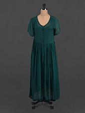 Green Solid Sheer Georgette Maxi Dress - LastInch