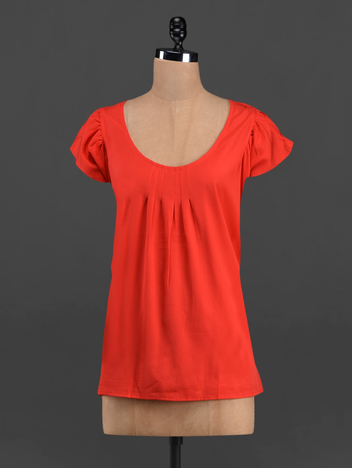 Round Neck Solid Red Top - LastInch