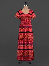 Red Printed Short Sleeve Maxi Dress - LastInch