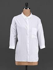 White Solid Quarter Sleeve Shirt - LastInch