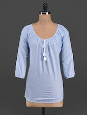 Light Blue Gathered Round Neck Top - LastInch