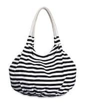 Striped Monochrome Canvas Hobo Bag - YOLO - You Only Live Once
