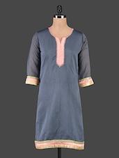 Three Quarter Sleeve Chanderi Silk Kurta - Maybell