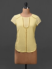Yellow Short Sleeves Cotton Top - Citrine