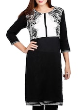 Black And White Cotton Kurta - By