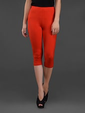 Red Knee Length Tights With Back Pocket - Finesse