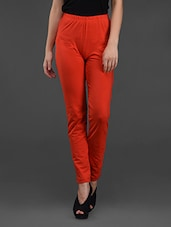 Red Ankle Length Tights With Back Pocket - Finesse