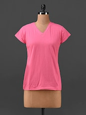Pink V - Neck T-shirt - Finesse