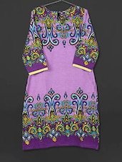 Purple Printed Cotton Kurti - AYAN