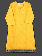 Yellow Geometric Print Cotton Kurta - AYAN