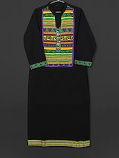 Black Cotton Kurti With Printed Panel - AYAN
