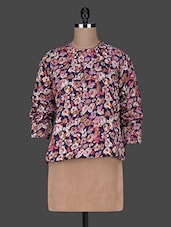 Multicolored Floral Print Poly-crepe Top - Color Cocktail