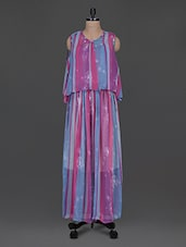 Multicolored Striped-printed Chiffon Maxi Dress - Color Cocktail