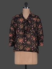 Black Floral Print Necktie Georgette Top - Color Cocktail