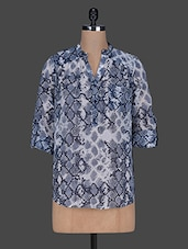 Blue Snakeskin Print Poly-Georgette Top - Color Cocktail