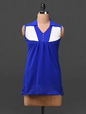 Blue Color Block Yoke Georgette Top - London Off