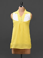 Yellow  Color Block Yoke Georgette Top - London Off
