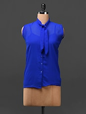 Royal Blue Neck Tie-up Georgette Top - London Off