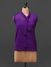 Purple Neck Tie-up Georgette Top - London Off