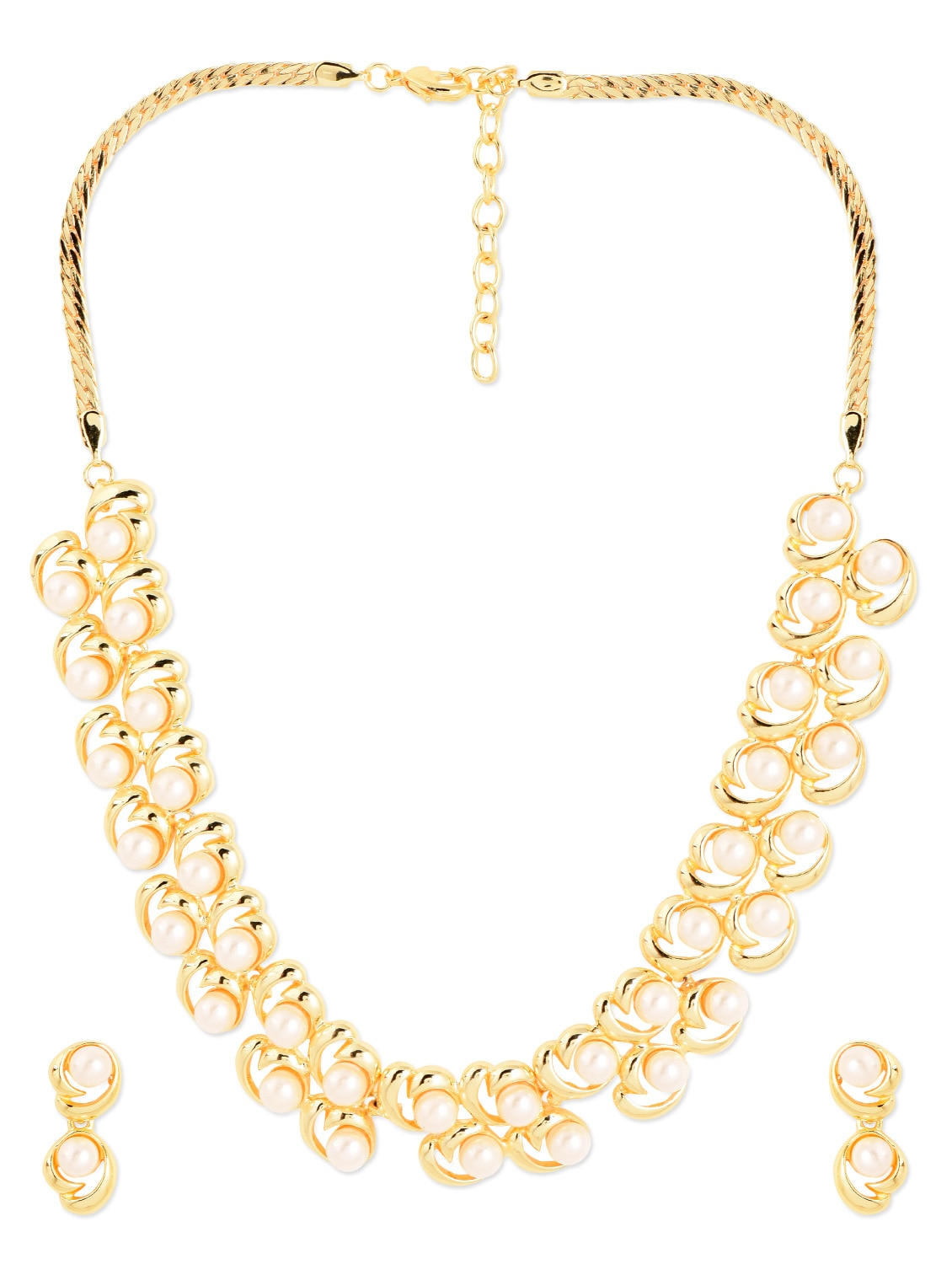 Gold Metal Alloy  & Pearl Beads Necklace Set - Golden Peacock