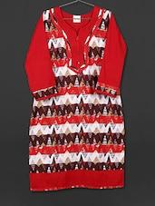 Red Printed Cotton Kurti - AYAN