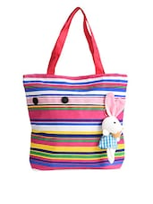 Multi Colour Striped Bunny Embellished Canvas Tote Bag - Lass Lee