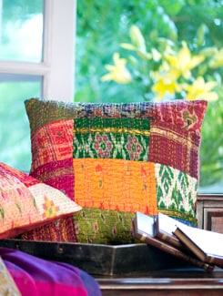 Hand Work Silk Ikat Cushion Cover - Art Age