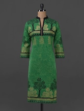Green Block Printed Long Cotton Kurta - Sohniye