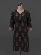 Black Block Printed Cotton Kurti - Sohniye