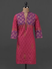 Block Printed Mandarin Neck Cotton Kurti - Sohniye