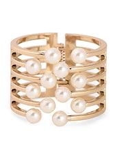 Gold & White Metal Alloy &Pearl Beads Bracelet - Bg's