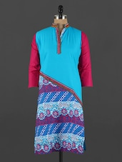 Blue Floral Printed Cotton Kurta - CRAZORA
