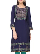 Navy Blue Rayon Regular Kurta - By