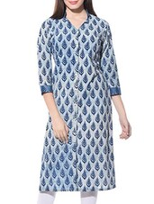 Indigo And White Cotton Hand-Block Printed Kurta - By