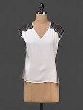 V Neck Shoulder Lace Georgette Top - Ozel Studio