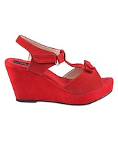 Red Suede T-Strap Peep-Toe Wedges - LOZENGE