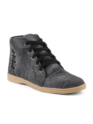 grey denim, leatherette sneakers - Online Shopping for Sneakers