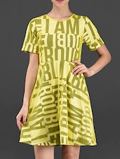 Typography Print Poly Knit Short Dress - I AM TROUBLE BY KC