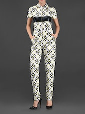 Geometric Print Front Zipper Jumpsuit - I AM TROUBLE BY KC