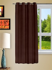 Brown Faux Silk Eyelet One Piece Window Curtain - Story @ Home