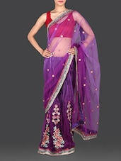 Floral Embroidered Heavy Net Saree - Utsav