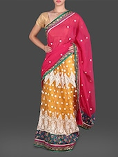Pink And Yellow Resham Embroidered Saree - Utsav