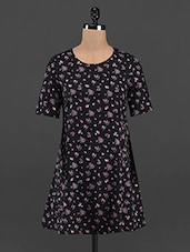 Mini Floral Printed Black Mini Shift Dress - RENA LOVE