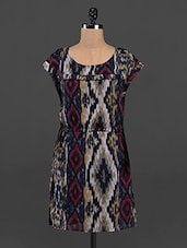 Ikat Printed Round Neck Dress - RENA LOVE