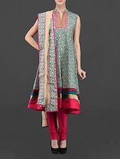 Floral Printed Silk Unstitched Suit Material - Span