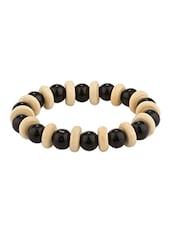 Black Pearl Beads & Wooden Beads Bracelet - Voylla